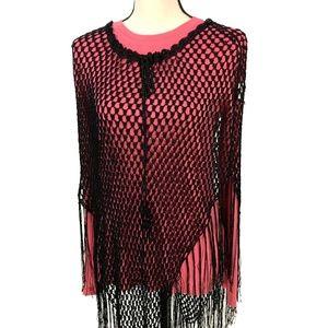 Black Rayon Crochet Fringe Shawl Poncho